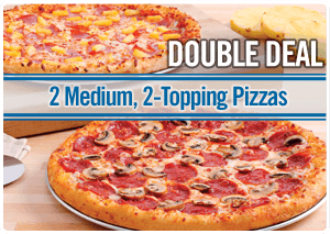 2 Medium, 2-Topping Pizzas