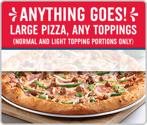 Anything Goes! Large pizza, any toppings