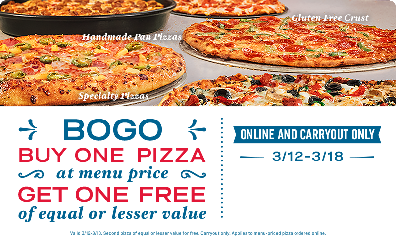 online only 50% off all pizzas at menu price